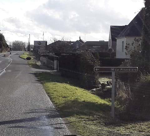 La Pitardiere Gite (Turning Left) Road Sign