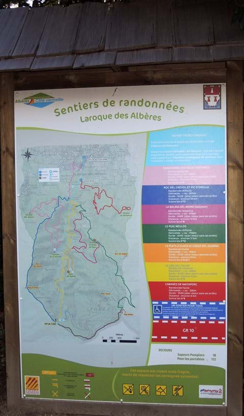 Well marked walking paths from Laroque - Map at a path junction