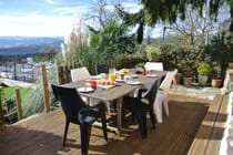 Breakfast on the large terrace overlooking the garden, pool and Tarn Valley!