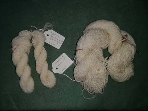 Results of the Suffolk X roving. Spun by Carol Evans