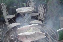 BBQ of freshly caught fish in back garden