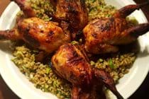 Roasted Quail with green wheat