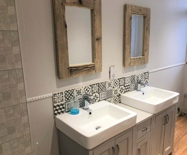Family bathroom with double sinks