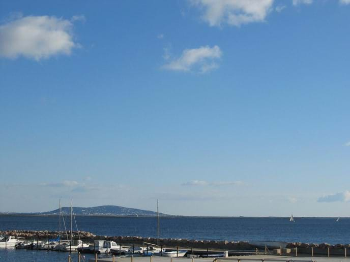 Sete across the water from Marseillan Port
