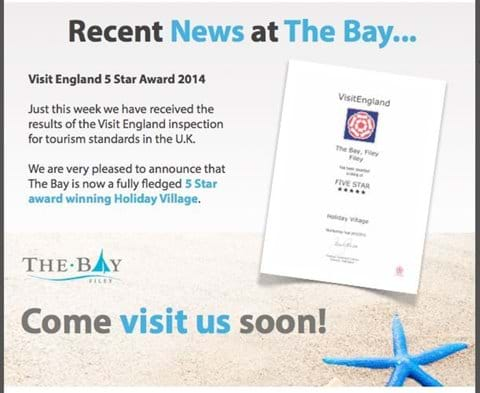 5* from Visit England The Bay and 5* Reviews from our guests on Trip Adviser