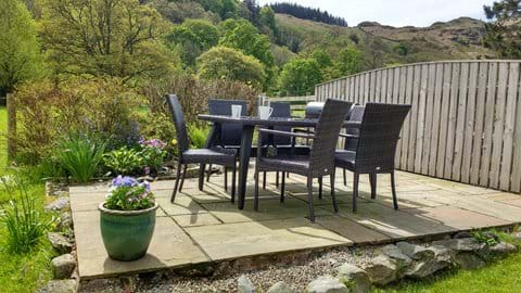 The garden patio - with barbeque and fabulous views.