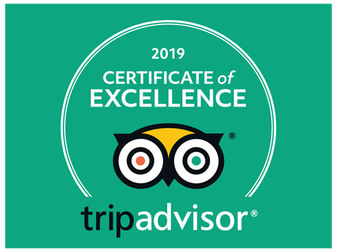 We have been awarded for the Second Year running the Certificate of Excellence for 2019 by Trip Advisor.
