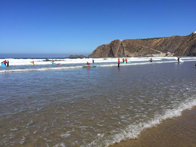 Surfing lessons in August 2015