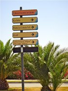 Sign post at the round about