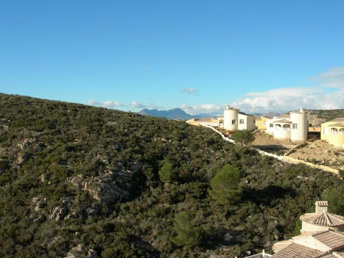 The Sierra Bernia mountains viewed from Casa Windlenook terrace
