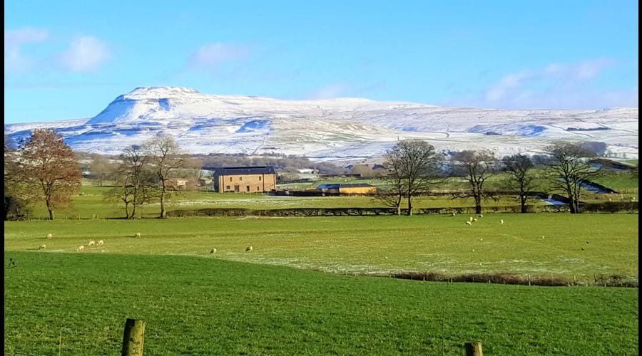 A stroll down the lane opens up to stunning views such as this one of snow capped Ingleborough.