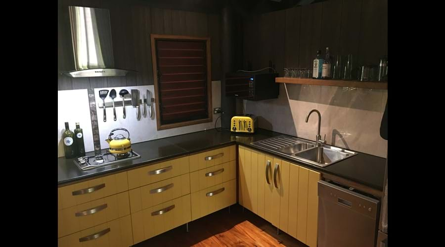 Modern & bright kitchen with new appliances & everything you could possibly need for your stay.