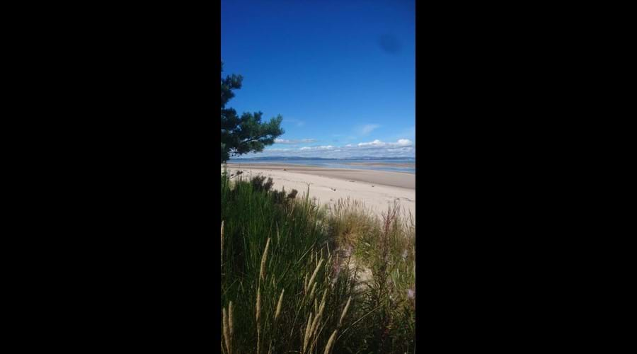 Nairn beach in August 2020 photographed from the sand dunes