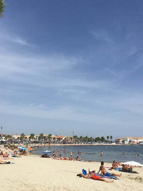 The beach and marina at Méze - 20 minutes drive