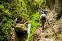 Hiking in the Seven Stairs Canyon, near Villa Radu, a holiday home in a private mountain resort