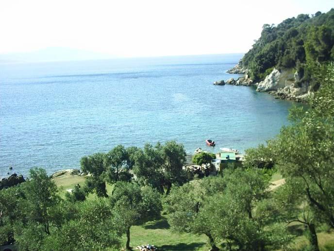 Skiathos N. coast, unique Tarsanas beach and olive-grove taverna