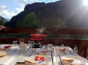 Fondue on balcony, early summer