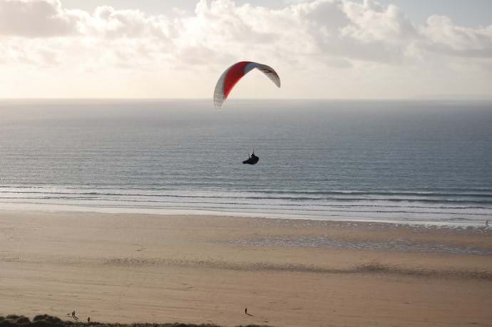 Gliding above the beach