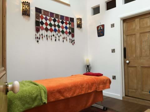 Massage treatment room at Lavender Barn holiday rental