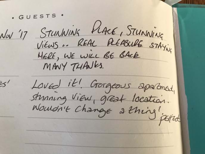 Small selection of the many comments in our guest book