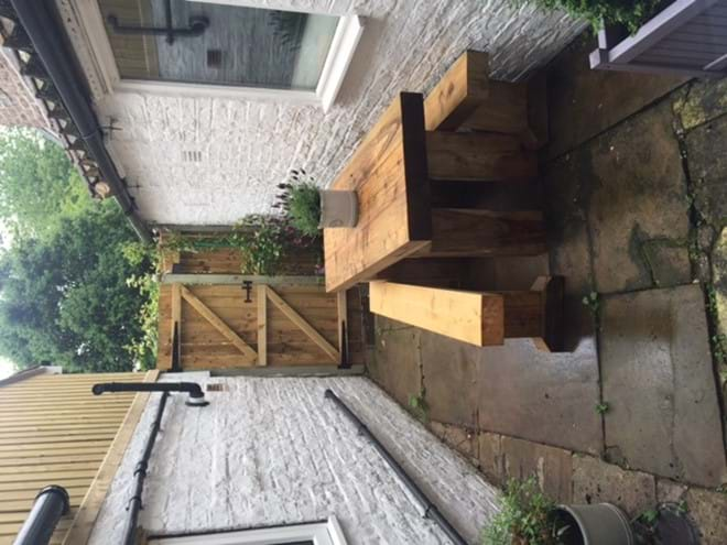 The rear courtyard with seating