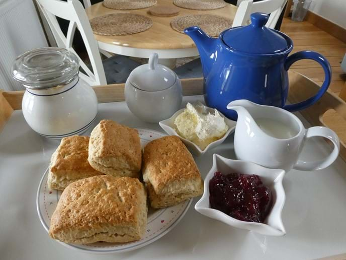 Homemade cream tea on arrival