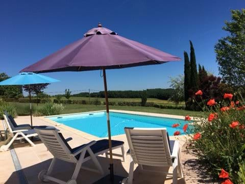 Our pool with wonderful views across the fields