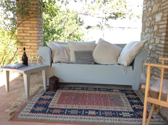 In the shade of the loggia