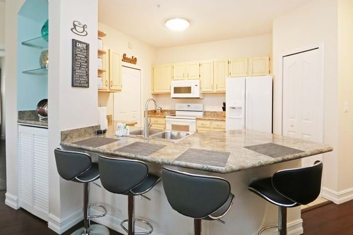 newly refurbished kitchen at the 2 bedroom condo 7-108