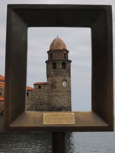 The Bell Tower on the harbour at Collioure - framed in the viewfinder - ready to be photgraphed