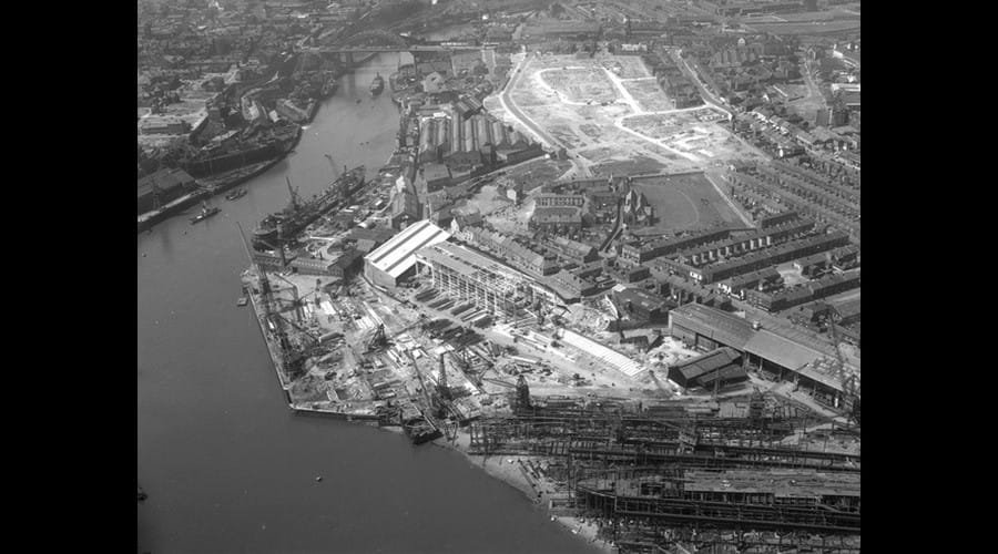 Aerial view of the North Sands shipyard of J.L. Thompson & Sons, Sunderland, 26 May 1959 (TWAM ref. DT.TUR/2/22169B). The image appears to show the shipyard