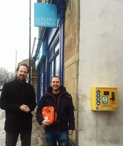Public access defibrillator installed outside Linley & Simpson, Harrogate Road