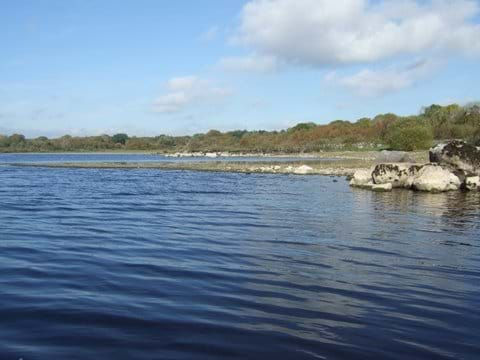lough Gara close to cottage. Man made dwellings from Bronze age discovered here in 1952