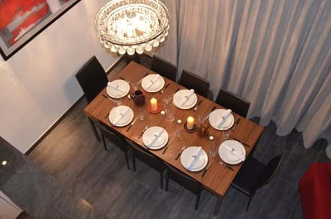 View of dining table from mezzanine