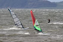Ardersier Bay is a popular place for wind surfers and kite surfers to enjoy the waves