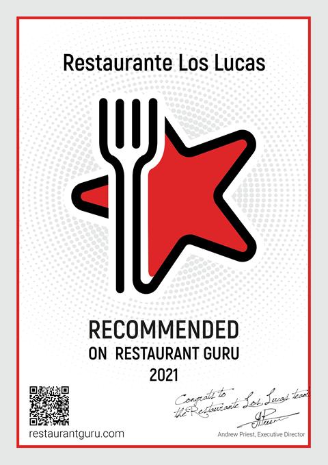 Restaurante Los Lucas has won another Award, this time from Restaurant Guru.