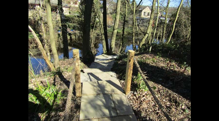 Steps down to the riverbank