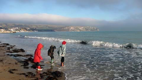 Swanage Beach on Christmas Day