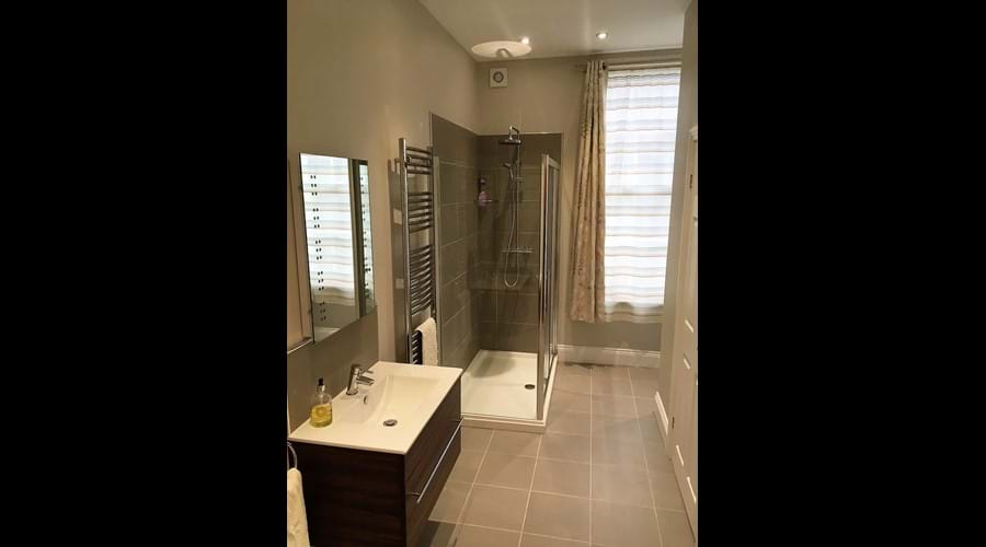 Ground Floor Bathroom with large shower, washbasin and wc