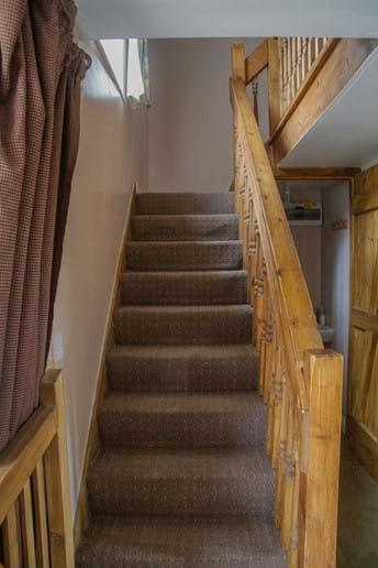 Laverock Lodge stairs (note wooden stair gate when required)