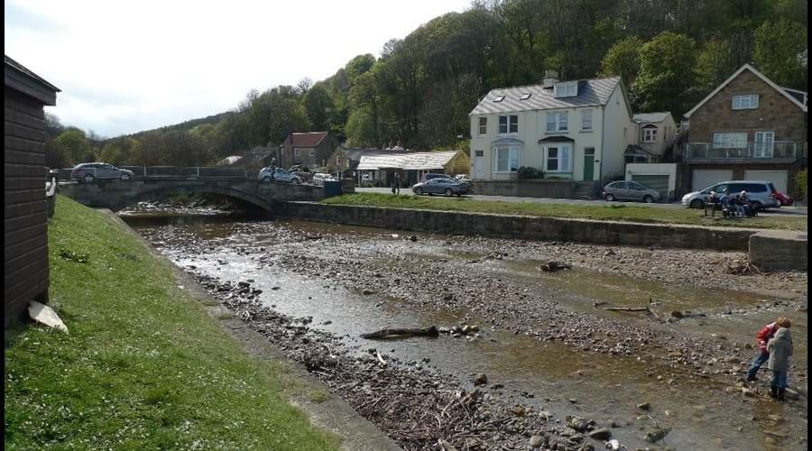 Sandsend village viewed across River Est beck