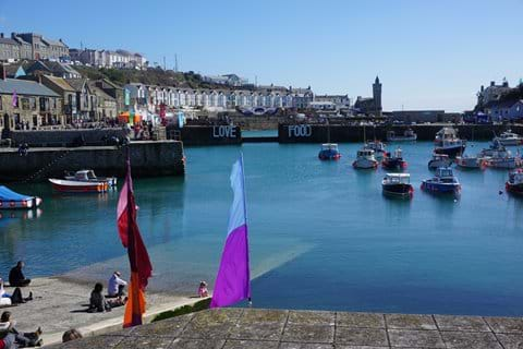Porthleven harbour just a mile away