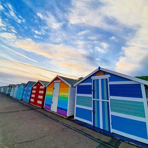 Coulourful beach huts on Pakefield prom