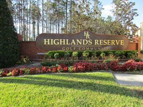 Main entrance to Highlands Reserve