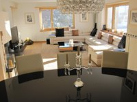 Spacious, light and airy living/dining room with huge leather sofa