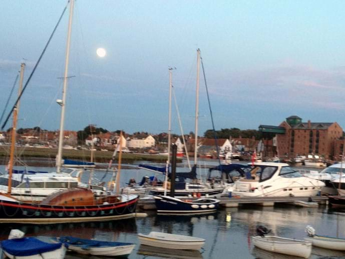 Moon rising over Wells Harbour