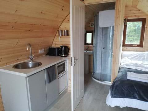 Kitchenette, en suite shower room, double bed.