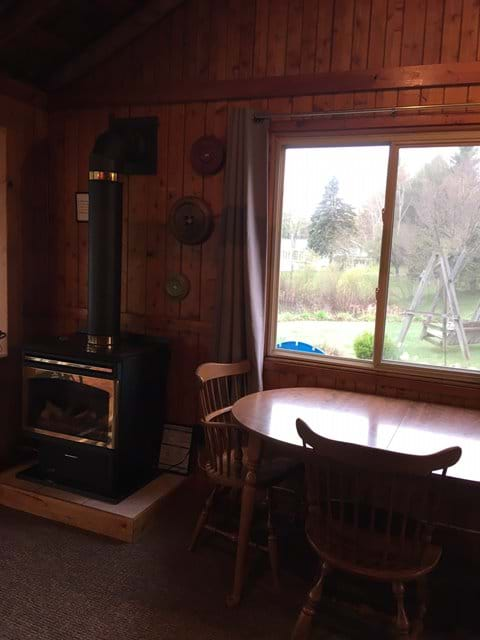 Gas fireplace heats the cottage.  There are also electric heaters that can also be used.