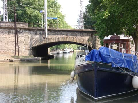 The Canal du Midi runs through Carcassonne