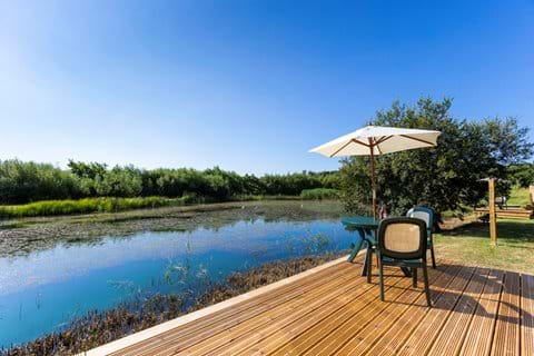 Sandpiper private decking with BBQ and fire pit